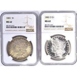 1882-O & 83 MORGAN DOLLARS, NGC MS-62