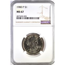 1980-P SBA DOLLAR, NGC MS-67