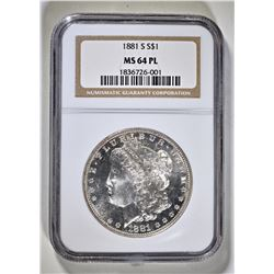 1881-S MORGAN DOLLAR  NGC  MS-64 PL