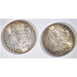 2 CH BU TONED MORGAN DOLLARS  1886, 96