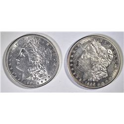 2 BETTER DATE AU/BU MORGAN DOLLARS  1890-S, 91-S