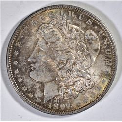 1897 MORGAN DOLLAR CH BU RAINBOW