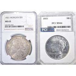1921 MORGAN NGC MS-63 & 1923 PEACE PCI CH BU