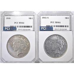 1925-S & 26 PEACE DOLLARS PCI CH BU