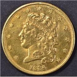 1834 $5 CLASSIC HEAD GOLD, DAMAGE REV.