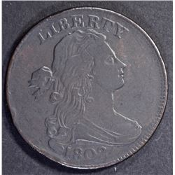 1802 DRAPED BUST LARGE CENT, VF/XF rim bump