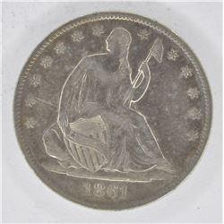 1861-O SEATED HALF DOLLAR, XF/AU KEY DATE!