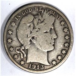 1913 BARBER HALF DOLLAR, VG+/FINE