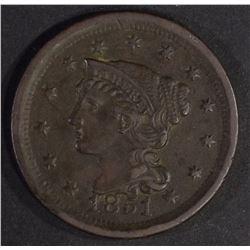 1851 LARGE CENT, XF/AU