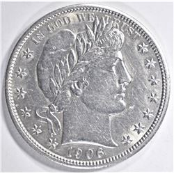 1906 BARBER HALF DOLLAR, CH BU