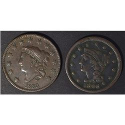 1833 & 1846 LAGE CENTS, BOTH VF