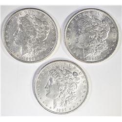 3-CH BU 1889 MORGAN DOLLARS