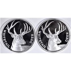 2-WHITETAIL DEER ONE OUNCE SILVER ROUNDS
