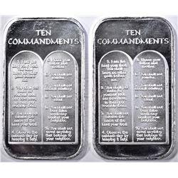 2-10 COMMANDMENTS ONE OUNCE .999 SILVER BARS