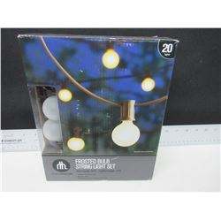 New Frosted Bulb Light Set / 20ft indoor/outdoor Tested Working