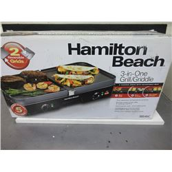 New Hamilton Beach 3 in 1 Grill/Griddle 2 cooking areas with separate heat