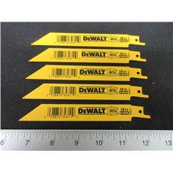 """5 New DeWalt 6"""" Bi-Metal Recip/Sawzall Blades"""