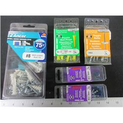 New Bundle of Wall Anchors / EZ Anchors / and plastic wall plugs with screws