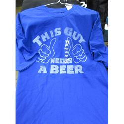 New Mens This Guy needs a Beer T-Shirt size XL