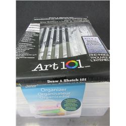 Draw and Sketch Pencil set and 3 piece stackable organizer