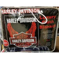 """NEW! """"HARLEY-DAVIDSON"""" LUXURY PLUSH BLANKET(QUEEN)"""