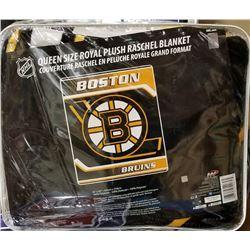 "NEW! ""BOSTON"" ROYAL PLUSH BLANKET(QUEEN)"