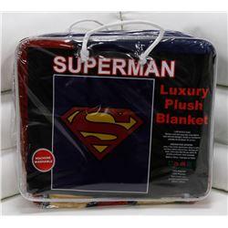 "NEW! ""SUPERMAN"" LUXURY PLUSH BLANKET (QUEEN)"