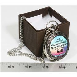 NEW FAITH POCKET WATCH WITH MATCHING NECKLACE