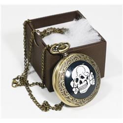 NEW SKULL POCKET WATCH WITH MATCHING NECKLACE