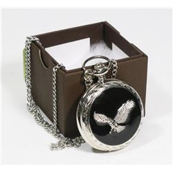NEW EAGLE POCKET WATCH WITH MATCHING SILVER CHAIN