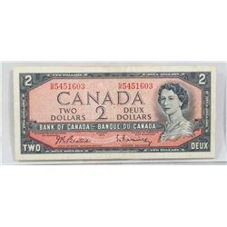 CANADA 1954 TWO DOLLAR BILL.