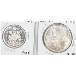 CANADA 1963 SILVER DOLLAR AND FIFTY CENT COINS.