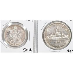 CANADA 1959 SILVER DOLLAR AND FIFTY CENT COINS.