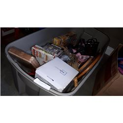 LARGE TOTE OF ESTATE GOODS, HEATER, SAUNA BELT