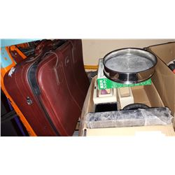 POTTERY AND 2 STAGE SIFTER AND SUITCASE