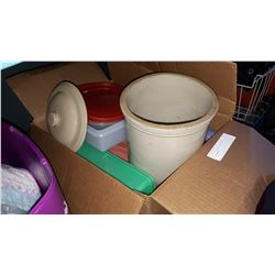 BOX OF CROCK W/ LID AND TUPPERWARE