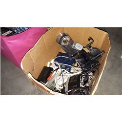 BOX OF ELECTRONICS AND SERVEILENCE CAMERA AND EXTENTION CORDS