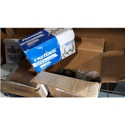 BOX OF FASTENAL SELF TAPPING SCREWS AND BRACKETS
