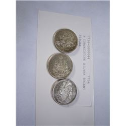 3 CONSECUTIVE SILVER 50CENT PIECES
