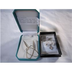 MODERN STERLING HOOP EARRINGS AND STERLING AND CUBIC ZIRCONIA PENDANT AND EARRING SET