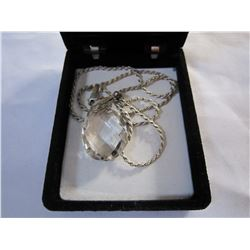 STERLING SILVER ROPE CHAIN W/ CRYSTAL PENDANT