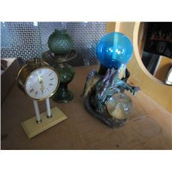 LOT OF COLLECTABLES WITH OIL LAMP GREEN GLASS AND PLASMA LAMP