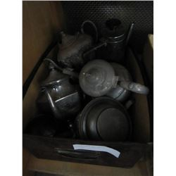 SILVER PLATE AND PEWTER TEAPOTS