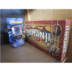 JUMANJI BOARD GAME AND NEW ASTEROIDS HANDHELD GAME