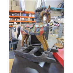 WOOD CARVED ROCKING HORSE