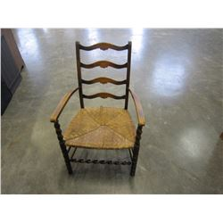 BARLEY TWIST ANTIQUE CHAIR W/ RATTAN SEAT