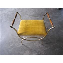 BRASS AND WOOD YELLOW UPHOLSTERED STOOL