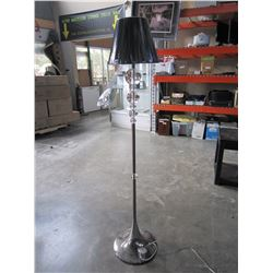 MODERN CHROME AND GLASS BEAD FLOOR LAMP