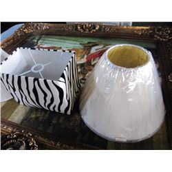 2 LAMP SHADES: ZEBRA STRIPE AND WHITE