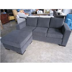 NEW ASHLEY BLACK FABRIC SOFA WITH MOVABLE CHAISE LOUNGE, RETAIL $2499